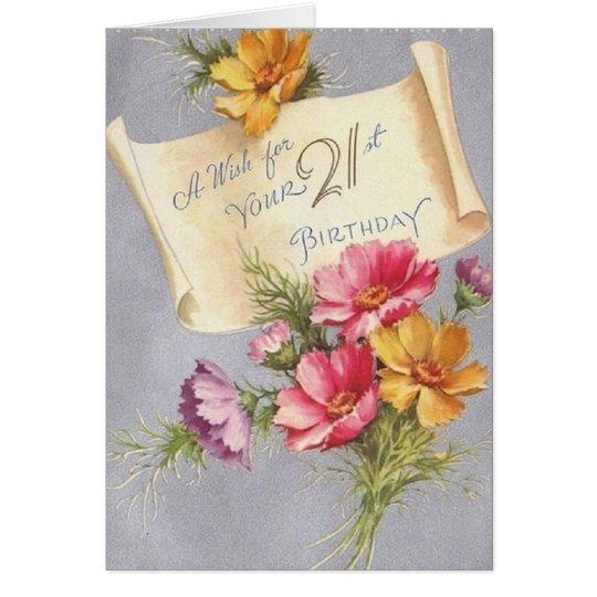 Vintage 21. Geburtstags-Gruß-Karte Karte