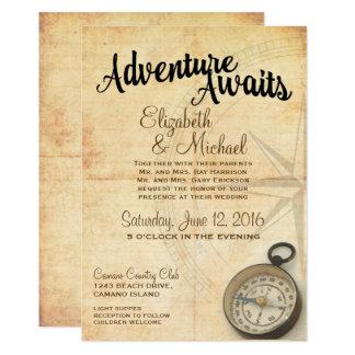 Vintage Abenteuer-Reise-Hochzeits-Einladung Karte