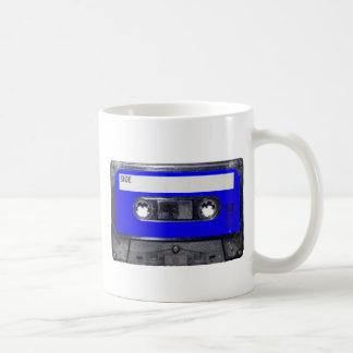 Vintage Achtzigerjahre blaue Aufkleber-Kassette Kaffeetasse