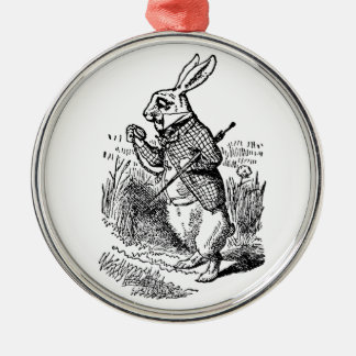 Vintage Alice im Wunderland die weiße Silbernes Ornament