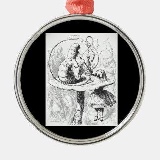 Vintage Alice im Wunderland-Raupen-Verzierung Silbernes Ornament
