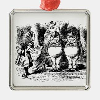 Vintage Alice im Wunderland, Tweedledum Tweedledee Silbernes Ornament