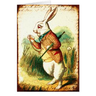 Vintage Alice, weißes Kaninchen Karte