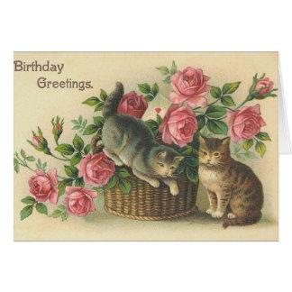 Vintage - alles Gute zum Geburtstag - Rosen u. Karte
