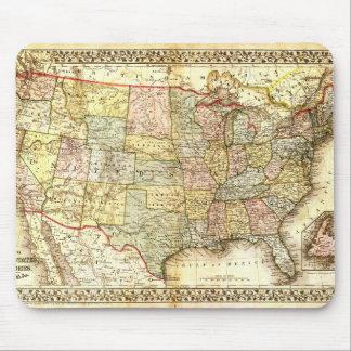 Vintage alte allgemeine Karte Vereinigter Staaten Mousepads