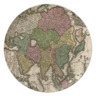 Vintage alte Weltkarten-Platte Teller