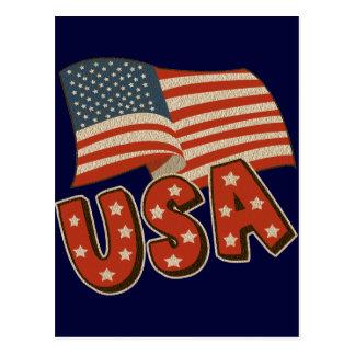 Vintage Amerika-Flagge Postkarte