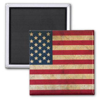 Vintage amerikanische Flagge 2 Zoll-Quadrat-Magnet Quadratischer Magnet