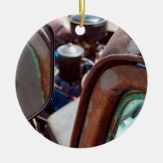 Vintage amerikanische rostige rundes keramik ornament