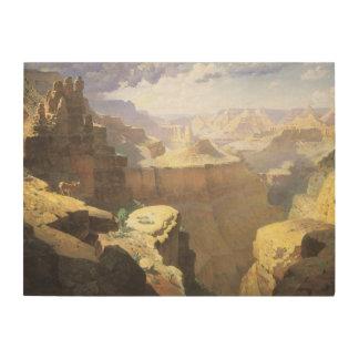 Vintage amerikanische Westkunst, Grand Canyon Holzdruck
