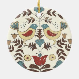 Vintage amische Vogel-Land-Hütte Rundes Keramik Ornament