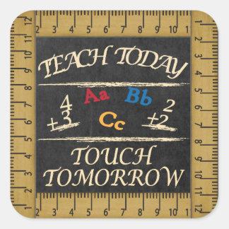 Vintage angeredete Lehrer-Tafel Quadratischer Aufkleber