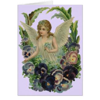 Vintage antike Engel Blumenstrauß-Blumen-Karte Karte