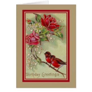 Vintage antike Geburtstagsgrüße, Rotkehlchen, Karte