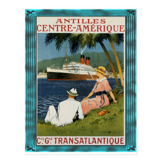 Vintage Antillen-Kreuzfahrt-Kunst Postkarte