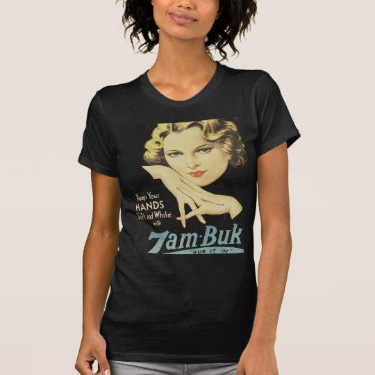 Vintage Anzeige-Handcreme-Frauen-blondes Haar T-Shirt