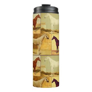 Vintage arabische Pferde - Collage Thermosbecher