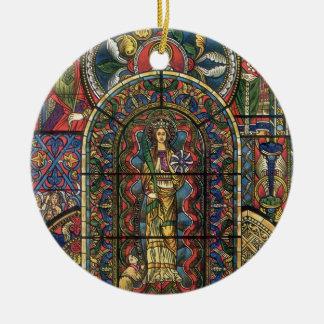 Vintage Architektur, Kirchen-beflecktes Rundes Keramik Ornament