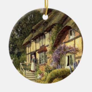 Vintage Architektur, Land-Hütten-Haus Rundes Keramik Ornament