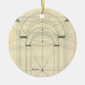 Vintage Architektur, Renaissance-Bogen-Perspektive Rundes Keramik Ornament