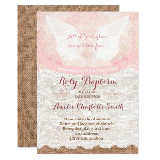 Vintage Art heilige Taufe-Einladungen für Mädchen Karte
