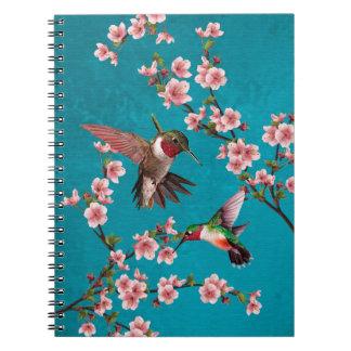 Vintage Art-Kolibris u. Kirschblüten Notizblock