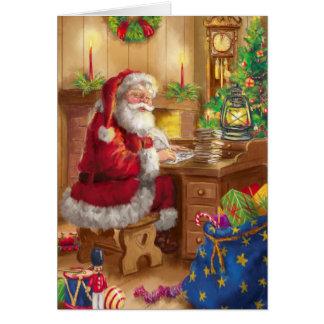 Vintage Art Weihnachtsmann, der an seinem Karte