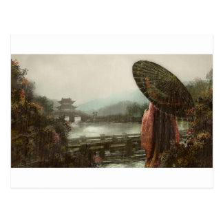 Vintage asiatische Frau in der traditionellen Postkarte