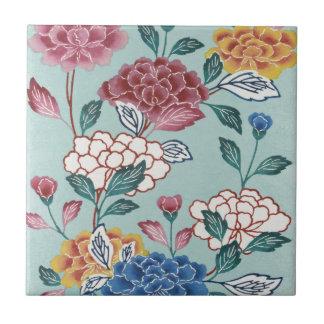 Vintage asiatische mit Blumenkunst-blaue Fliese