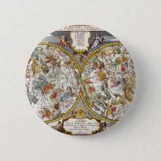 Vintage Astronomie, himmlische Planisphere-Karte Runder Button 5,1 Cm