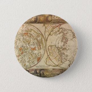 Vintage Astronomie, himmlische Planisphere-Karte Runder Button 5,7 Cm