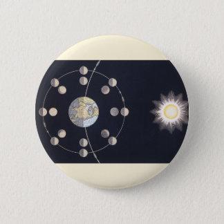 Vintage Astronomie, Phasen des Mondes mit Erde Runder Button 5,1 Cm