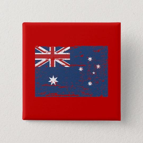 Vintage australische Flagge Quadratischer Button 5,1 Cm