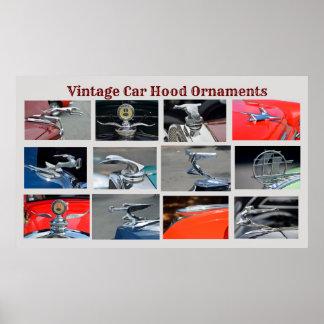 Vintage Auto-Hauben-Verzierungen Poster
