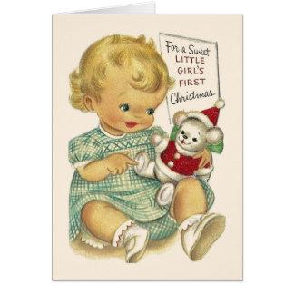 Vintage Baby-Mädchen-erste Weihnachtskarte Grußkarte