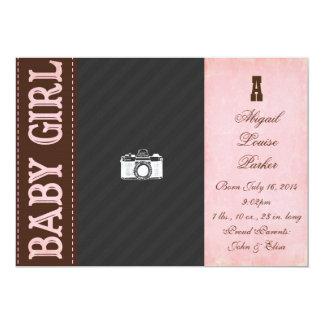 Vintage Baby-Mädchen-Geburts-Mitteilung 12,7 X 17,8 Cm Einladungskarte