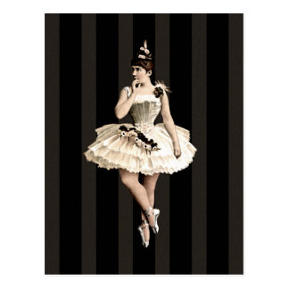 Vintage Ballerina-dunkle Farben Postkarte