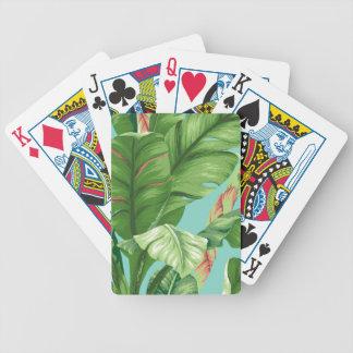 Vintage Bananenblatt- u. -Blumenmalerei Bicycle Spielkarten