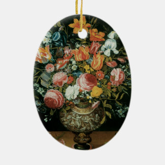 Vintage Barock-noch Leben-Blumen in einem Vase Ovales Keramik Ornament