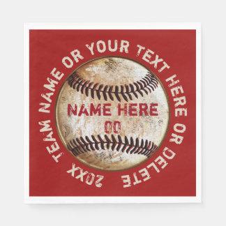 Vintage Baseball-Servietten mit Ihren FARBEN und Papierserviette