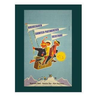 Vintage bayerische Alpen-Reise-Postkarte
