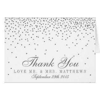 Vintage bezaubernde silberne Confetti-Hochzeit Karte