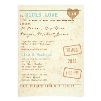 Vintage Bibliotheks-Karten-Hochzeits-Einladung 12,7 X 17,8 Cm Einladungskarte