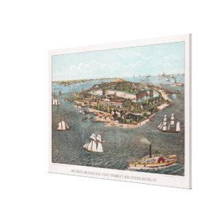 Vintage bildhafte Karte von Fort Monroe Virginia Leinwanddruck