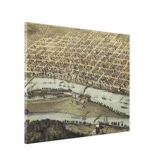 Vintage bildhafte Karte von Saginaw Michigan Leinwanddruck