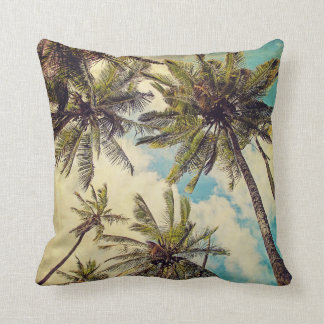 Vintage blaue Hawaii-Palmen - Kauaithrow-Kissen Kissen