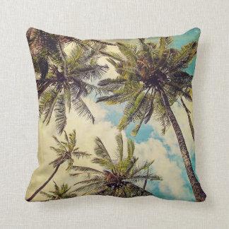 Vintage blaue Hawaii-Palmen - Kauaithrow-Kissen Zierkissen