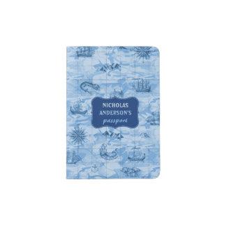 Vintage blaue Karten-Blick-Seemonster versendet | Passhülle