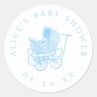 Vintage blaue Kinderwagen-Baby-Dusche Runder Aufkleber