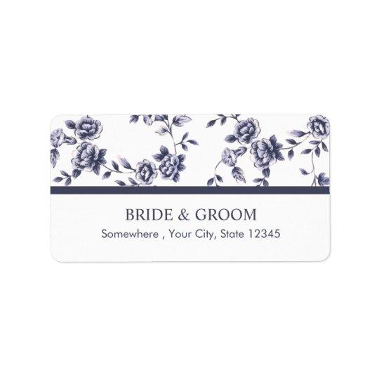 Vintage blaue u. weiße Blumenhochzeit Adressetiketten